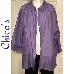 Chico's Linen & Silk Shirt Size 3 ( XL 16)